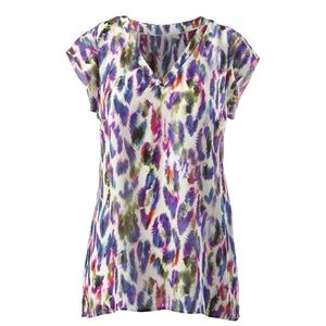 Cabi Plume Feather Print Top